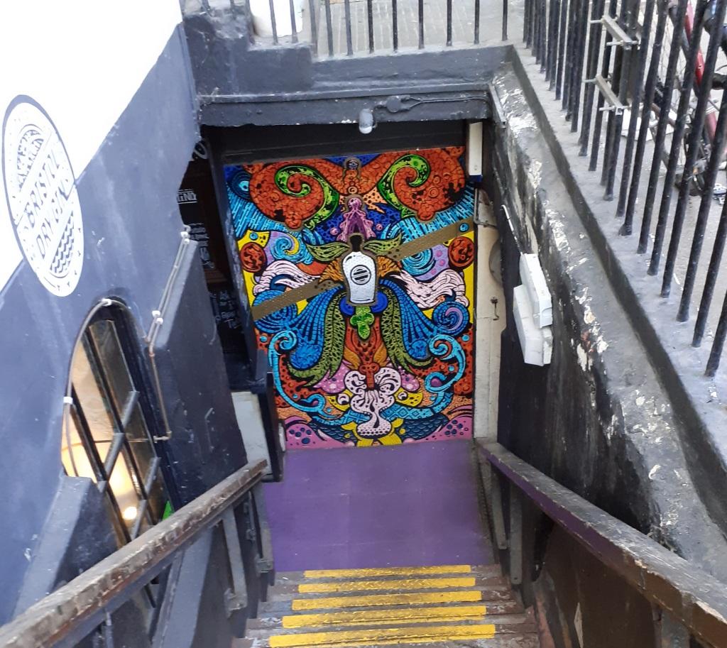 Graffiti on the cellar door at the Rummer