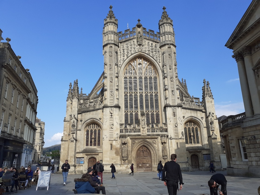 The West front of Bath Abbey showing the west door.