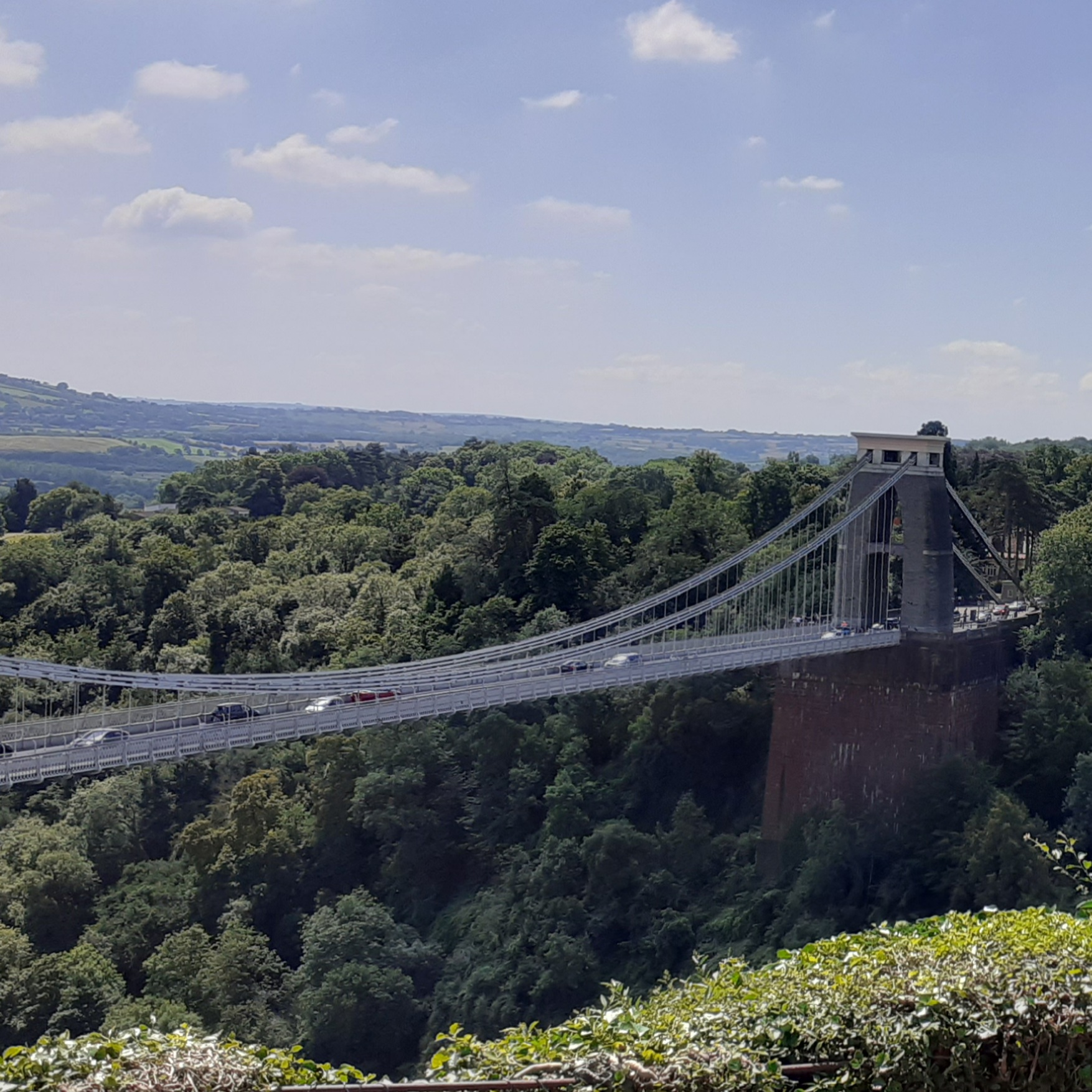 The Clifton suspension bridge with woods on either side.