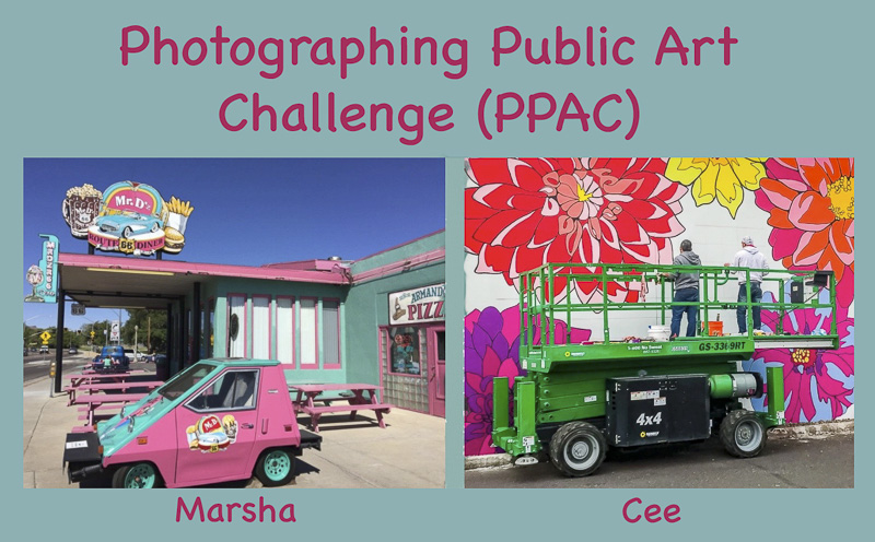 photographing public art challenge by Marsha and Cee logo