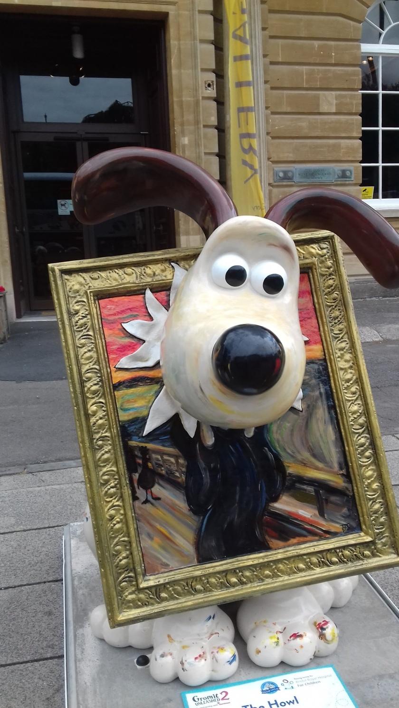 Gromit with his head through Edvard Munch the scream.